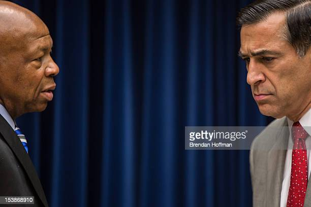 Rep Elijah Cummings and Rep Darrell Issa talk before a hearing on Capitol Hill on October 10 2012 in Washington DC The hearing before the House...