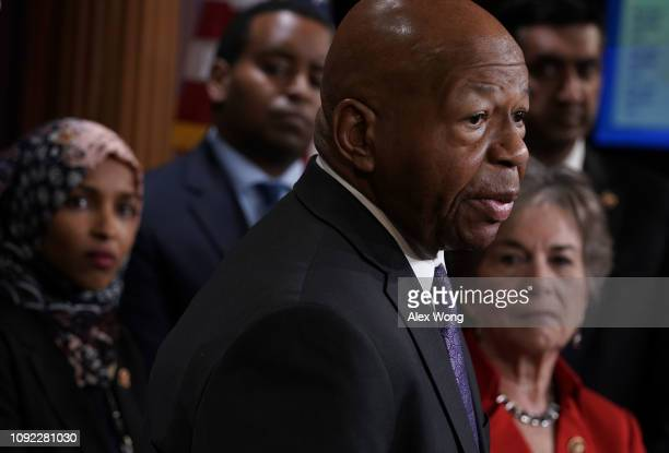 S Rep Elijah Cummings speaks as Rep Ilhan Omar Rep Joe Neguse Rep Ro Khanna and Jan Schakowsky listen during a news conference on prescription drugs...