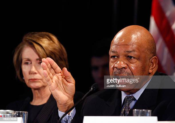 S Rep Elijah Cummings speaks as US Speaker of the House Nancy Pelosi looks on during a field hearing by the House Infrastructure and Transportation...