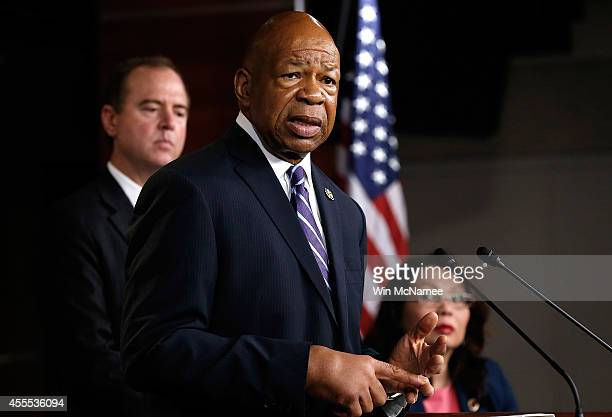 Rep Elijah Cummings speaks during a press conference by Democratic members of the House Select Committee on Benghazi September 16 2014 at the US...