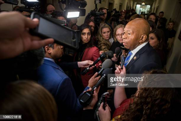 Rep Elijah Cummings speaks to members of the press during a Democratic Caucus meeting to elect new leadership on Capitol Hill on November 28 2018 in...