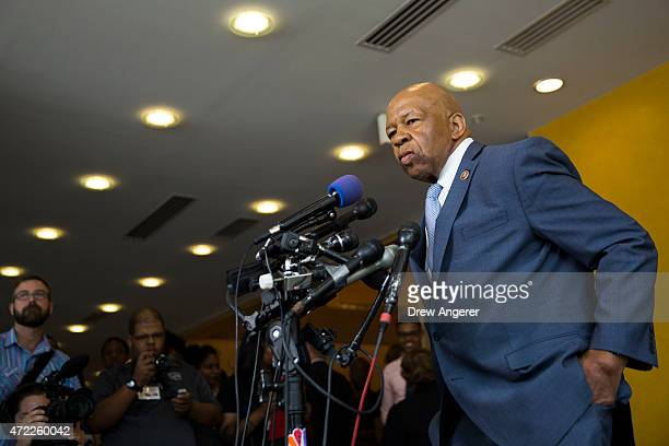 Rep Elijah Cummings speaks to the media at the University of Baltimore May 5 2015 in Baltimore Maryland Attorney General Loretta Lynch spoke with...
