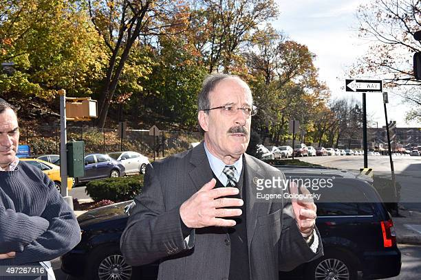 S Rep Eliot Engel attends a memorial vigil for victims of the Paris terror attack at the Riverdale Monument in the Bronx neighborhood on November 15...
