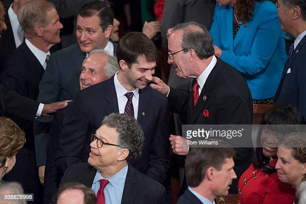 Rep Eliot Engel DNY right greets Sen Tom Cotton RArk on the House floor before an address by Indian Prime Minister Narendra Modi to a Joint Meeting...