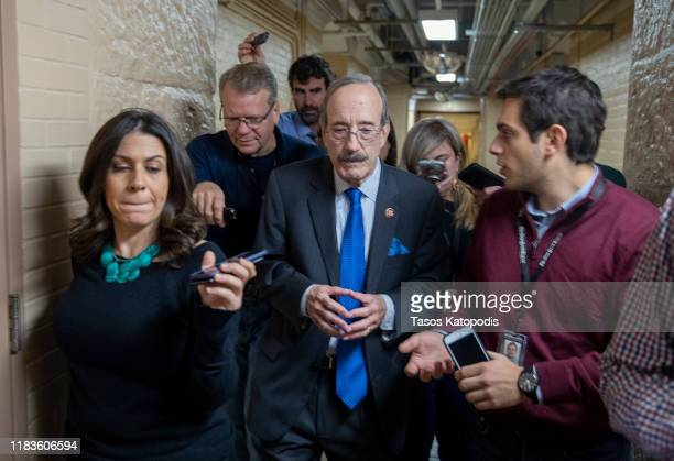 Rep Eliot Engel speaks to media after a closed session before the House Intelligence Foreign Affairs and Oversight committees on October 26 2019 in...