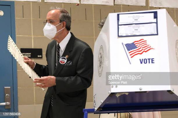 S Rep Eliot Engel votes at a school near his home on June 23 2020 in the Riverdale neighborhood of the Bronx borough of New York City Engel is...