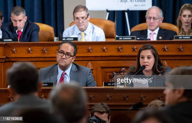 S Rep Elise Stefanik alongside US Rep Will Hurd asks questions of witnesses William B Taylor Jr top US diplomat in Ukraine and George P Kent Deputy...