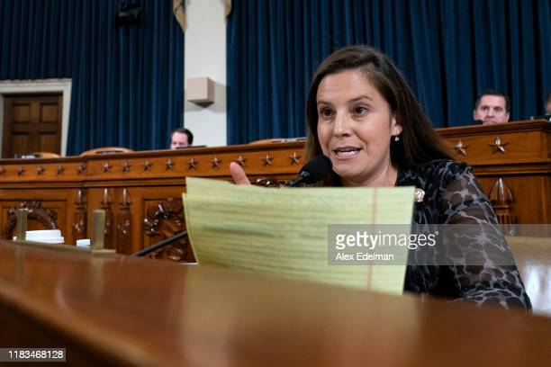 Rep Elise Stefanik asks former National Security Council Senior Director for European and Russian Affairs Tim Morrison a question as he testifies...