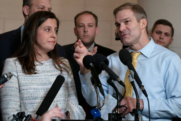 Rep. Elise Stefanik, , left, and Rep. Jim Jordan , right, speak with reporters following the testimony of Gordon Sondland, the U.S ambassador to the...