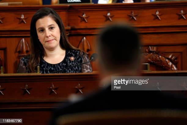 S Rep Elise Stefanik listens during questioning of Ambassador Kurt Volker former special envoy to Ukraine and Tim Morrison a former official at the...