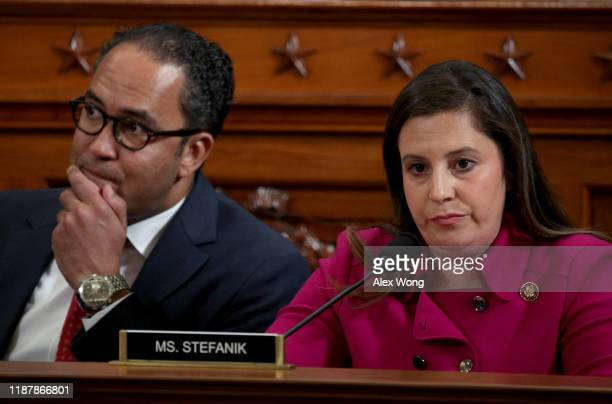 Rep Elise Stefanik listens with Rep Will Hurd as former US Ambassador to Ukraine Marie Yovanovitch testifies before the House Intelligence Committee...