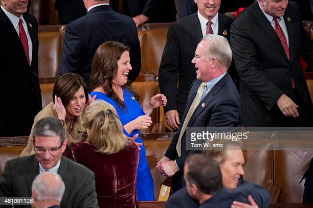 Rep Elise Stefanik RNY is congratulated by Rep Tom Price RGa after the 114th Congress was sworn in on the House floor of the Capitol January 6 2015