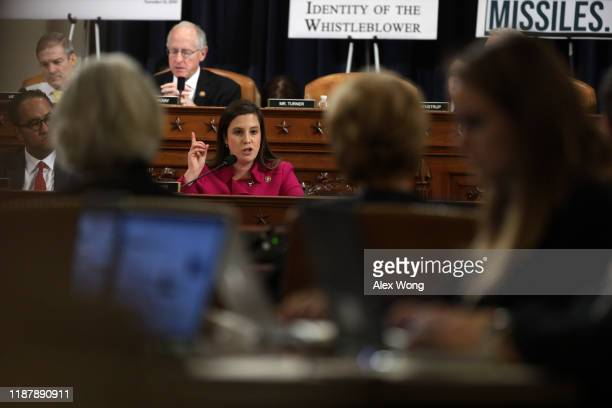 S Rep Elise Stefanik speaks during a hearing in which former US Ambassador to Ukraine Marie Yovanovitch testifies before the House Intelligence...