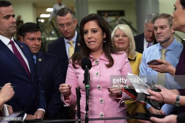 Rep. Elise Stefanik speaks to members of the media as Rep. John Ratcliffe , Rep. Mike Johnson , Rep. Doug Collins , Rep. Debbie Lesko , Rep. Mark...