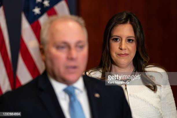 Rep. Elise Stefanik the newly elected GOP Conference Chair listens as House Minority Whip Steve Scalise speaks during a news conference after the GOP...