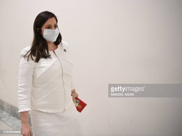 Rep. Elise Stefanik walks from her office to the office of Rep. Pete Sessions on May 12, 2021 on Capitol Hill in Washington,DC. - The former...