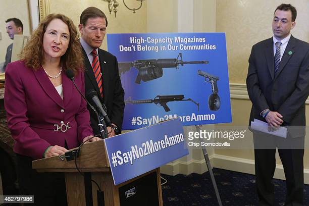 Rep Elizabeth Esty and Sen Richard Blumenthal are joined by Newtown Action Alliance Vice Chairman David Stowe to announce the reintroduction of...