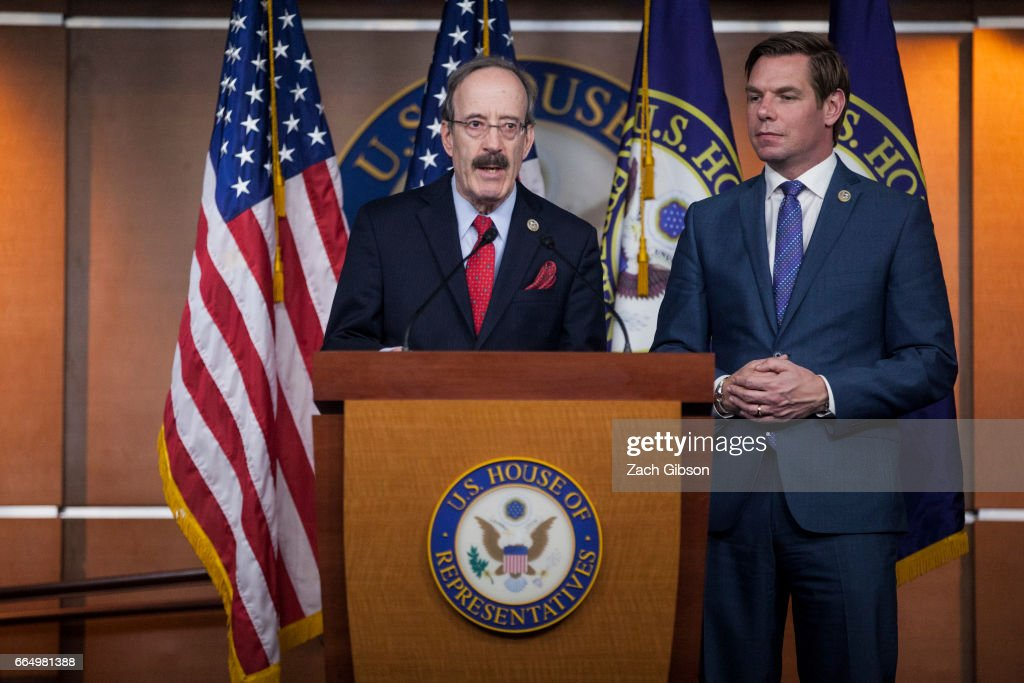 House Foreign Affairs Ranking Member Eliot Engel (D-NY) and Rep. Eric Swalwell (D-CA) Announce New Legislation On Russia : News Photo