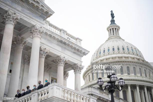 Rep. Emanuel Cleaver II, D-Mo., left, Rep. David Scott, D-Ga., left, incoming chairman of the House Agriculture Committee, Rep. Gregory Meeks,...
