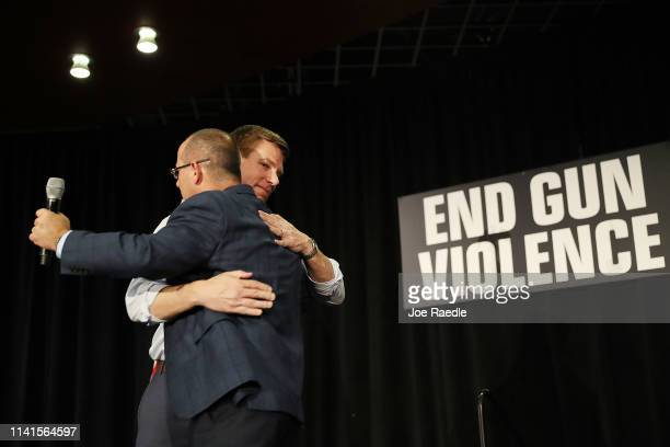 Rep Eric Swalwell who announced that he is running for president in 2020 and Fred Guttenberg whose daughter Jaime Guttenberg was killed in the...