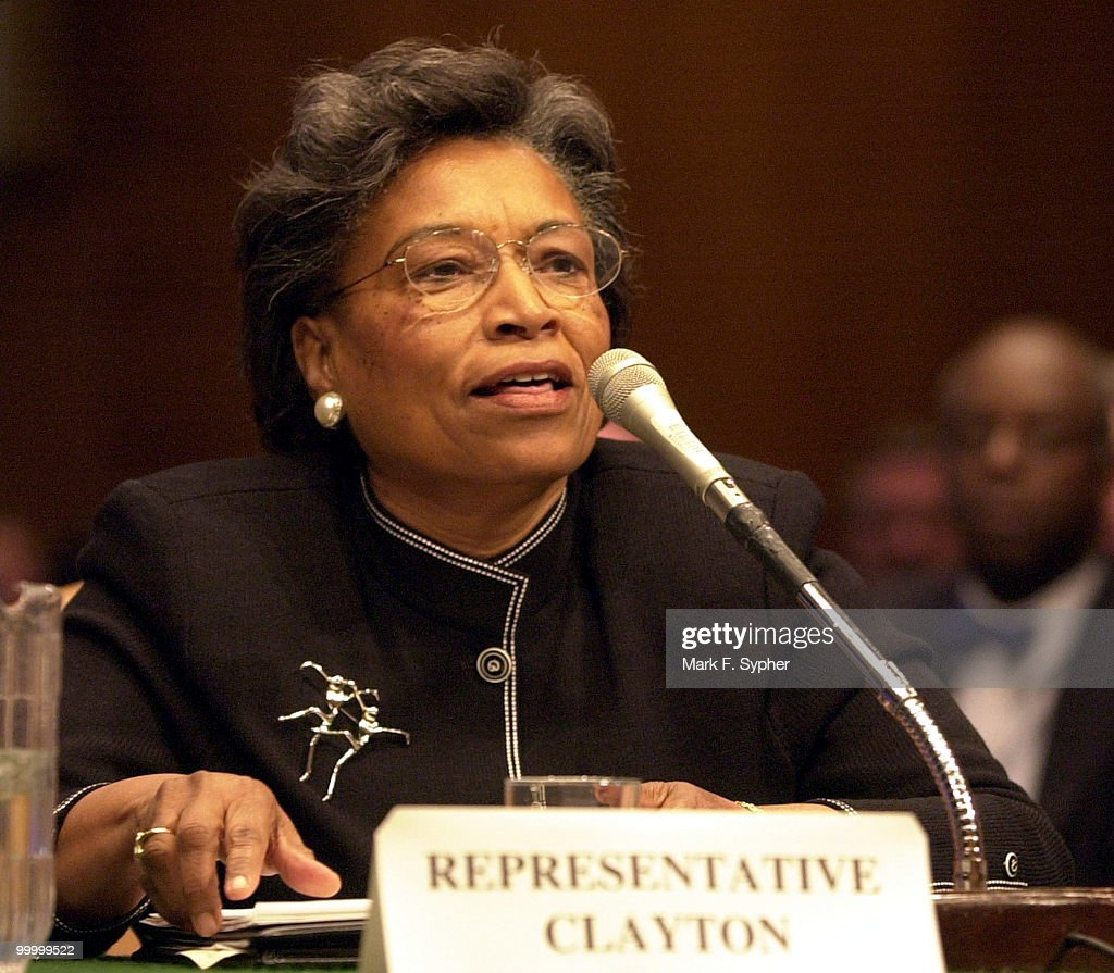 Rep. Eva Clayton (D-NC) speaking at a hearing on nominations of Thomas Dorr, who has been nominated to be under secretary of Agriculture for Rural Development. Clayton does not support the nomination.