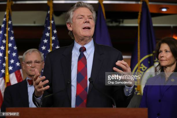 Rep Frank Pallone talks to reporters while announcing the House Democrats' new infrastructure plan during a news conference with Rep Earl Blumenauer...