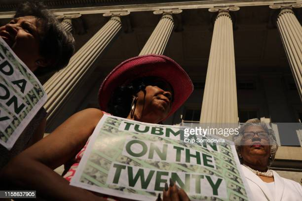 Rep. Frederica Wilson and Rep. Joyce Beatty rally with fellow House Democrats to demand that American abolitionist heroine Harriet Tubman's image be...