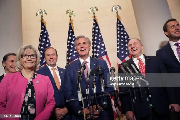 Rep Gary Palmer Rep Liz Cheney Rep Jason Smith House Majority Leader Kevin McCarthy House Majority Whip Steve Scalise and Rep Mark Walker talk to...