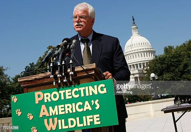S Rep George Miller speaks during a news conference to introduce the 'Protect America's Wildlife Act' on Capitol Hill September 25 2007 in Washington...
