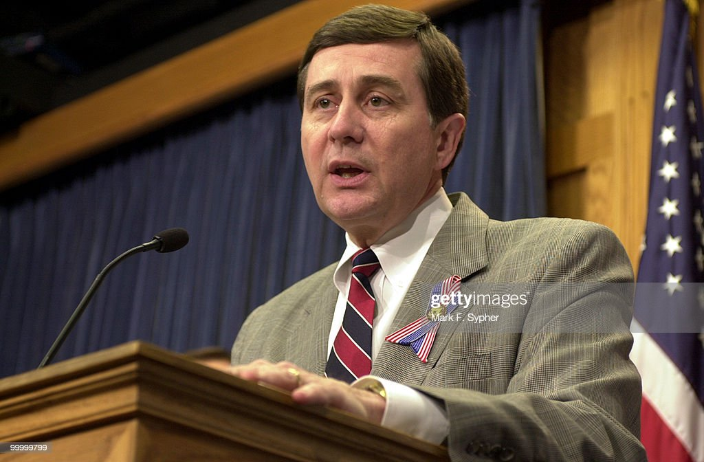 Rep. Gil Gutknecht (R-MN) speaks during a news conference on 'Securing America's Future for Agriculture FY2003 Budget Resolution,' in the House Radio and TV Gallery on Tuesday.