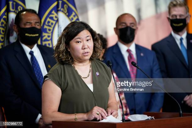 May 18: Rep. Grace Meng, D-N.Y., speaks during a news conference on the COVID-19 Hate Crimes Act in Washington on Tuesday, May 18, 2021.