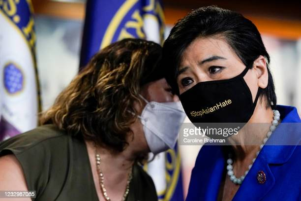 May 18: Rep. Grace Meng, D-N.Y., talks with Rep. Judy Chu, D-Calif., at the end of a news conference on the COVID-19 Hate Crimes Act in Washington on...