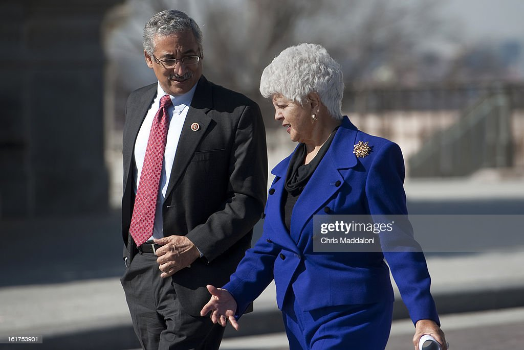 Rep. Grace Napolitano, D-Calif., and Rep. Bobby Scott, D-Va., walk to a news conference to promote the Mental Health in Schools Act and de-stigmatize the issue of mental illness. World Peace was known as Ron Artest before legally changing his name in September 2011.