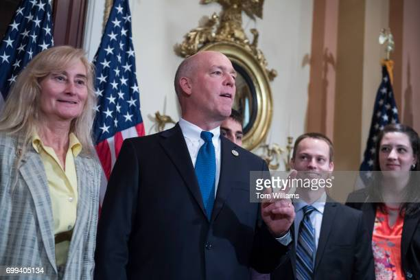 Rep Greg Gianforte RMont his wife Susan and family arrive for a swearing in ceremony in the Capitol with Speaker Paul Ryan RWis before the actual...