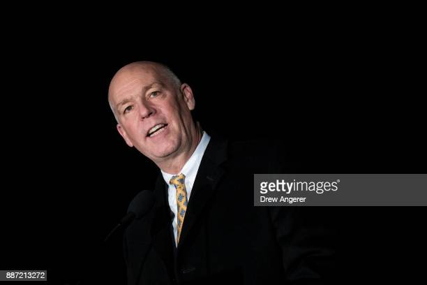 Rep Greg Gianforte speaks during the US Capitol Christmas Tree lighting ceremony on Capitol Hill December 6 2017 in Washington DC The tree is a...