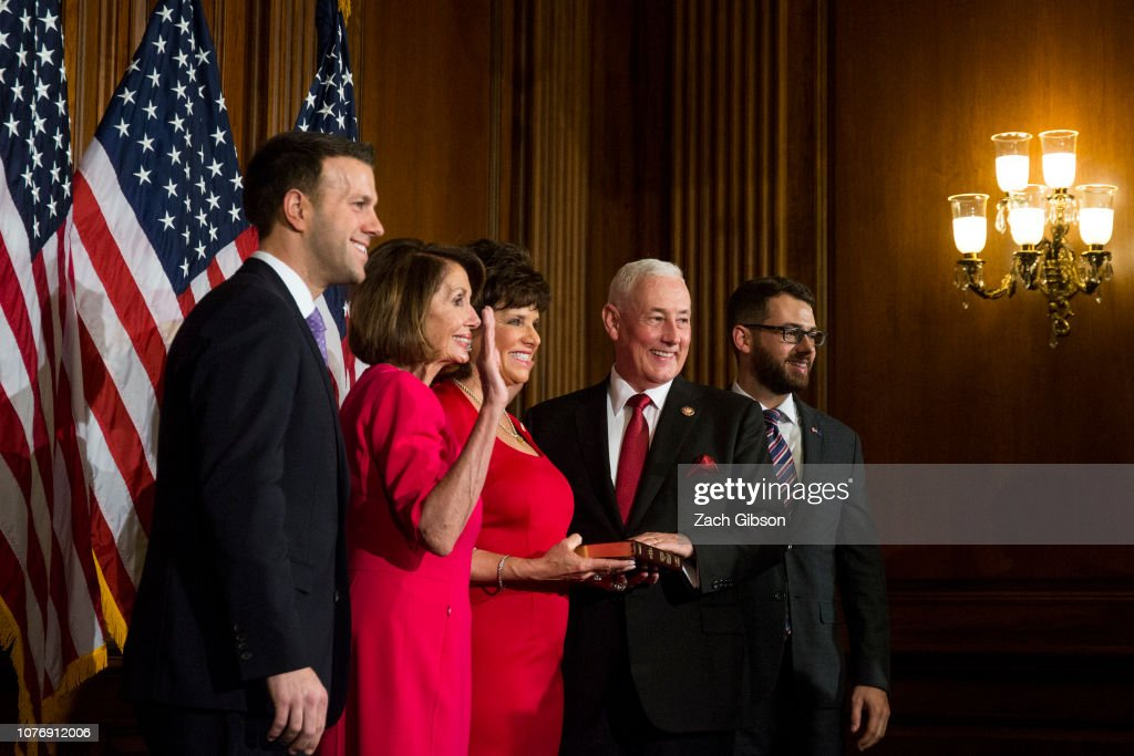 Newly Elected House Speaker Nancy Pelosi Holds Ceremonial Swearing-In With New Members Of Congress : News Photo