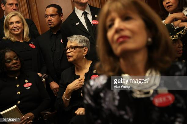 S Rep Gwen Moore Rep Bonnie Watson Coleman Rep Keith Ellison Rep Carolyn Maloney Rep Jackie Speier and other House Democrats wear black as they...