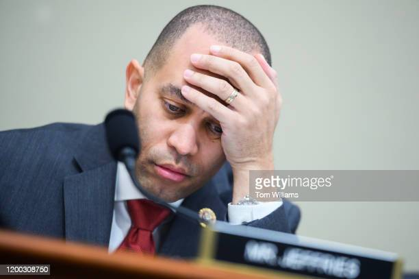 Rep Hakeem Jeffries DNY prepares for the House Budget Committee hearing on The President's 2021 Budget in Cannon Building on Wednesday February 12...