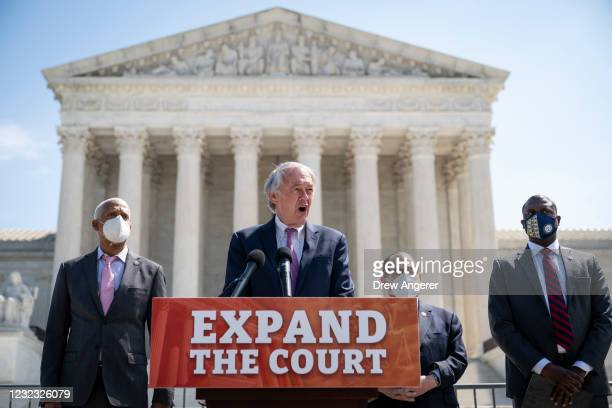 Rep. Hank Johnson , Sen. Ed Markey , House Judiciary Committee Chairman Rep. Jerrold Nadler and Rep. Mondaire Jones hold a press conference in front...
