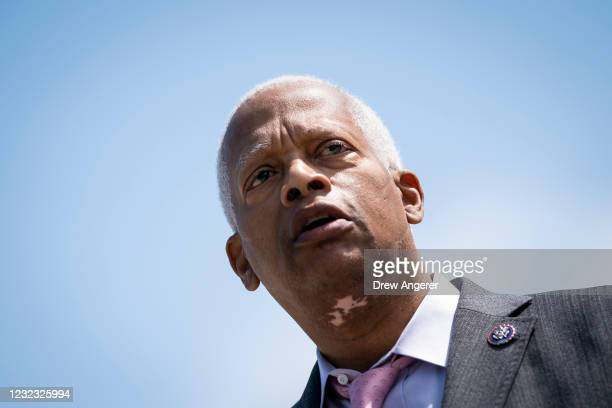 Rep. Hank Johnson speaks during a press conference in front of the U.S. Supreme Court to announce legislation to expand the number of seats on the...