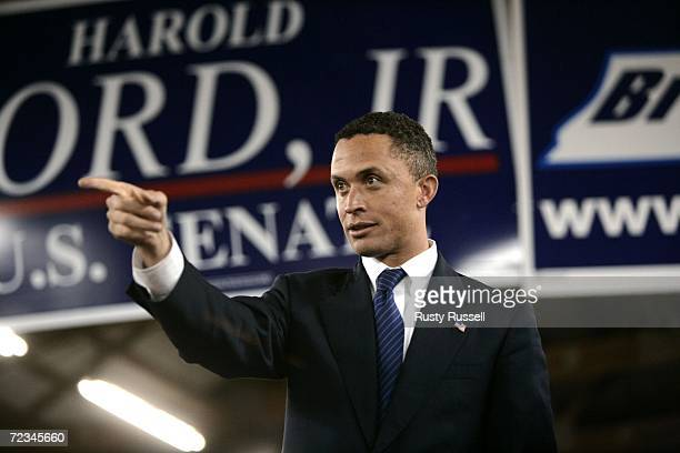 S Rep Harold Ford Jr speaks at a chili supper November 1 2006 in Murfreesboro Tennessee Ford's Senate race with Republican Bob Corker is among the...
