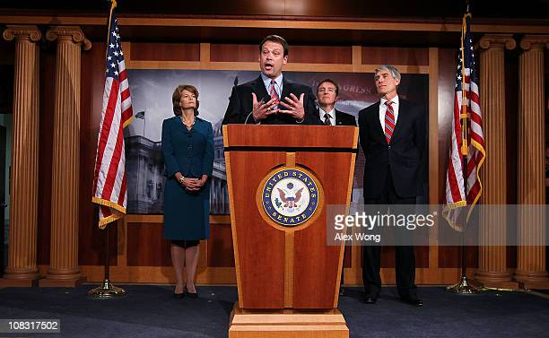 S Rep Heath Shuler speaks as Sen Lisa Murkowski Sen Mark Udall and Rep Paul Gosar listen during a news conference January 25 2011 on Capitol Hill in...