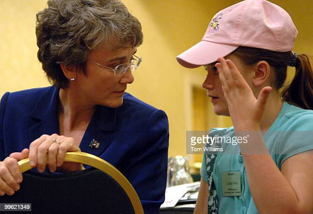 Rep Heather Wilson RNM has a word with her daughter Caitlin Hone at the state republican convention at the Marriott hotel in Albuquerque NM