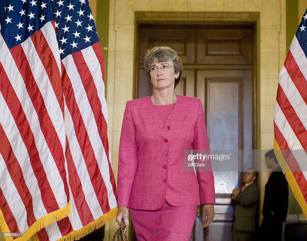 Rep. Heather Wilson, R-N.M., leaves the House Republican Conference meeting in the Cannon Caucus Room on Wednesday, June 18, 2008.