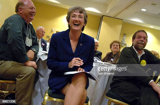 Rep Heather Wilson RNM share a laugh with with her husband Jay Hone left at the state republican convention at the Marriott hotel in Albuquerque NM...