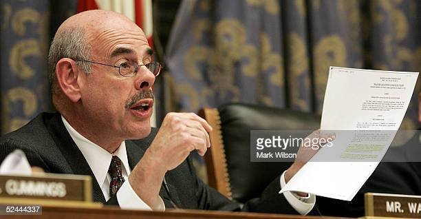 Rep Henry A Waxman of the House Committee on Government Oversight asks a question to members of the panel March 17 2005 in Washington DC The...