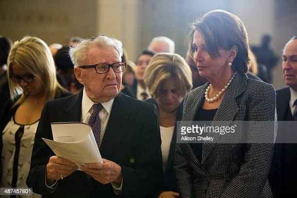 Rep House leader Nancy Pelosi and Holocaust survivor Irving Holt participate in the National Commemoration of the Days of Remembrance honoring the...