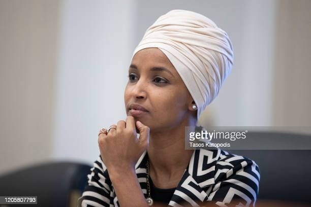 Rep Ilhan Omar attends the Pathway To Peace Policy panel on February 12 2020 at the US Capitol in Washington DC The Pathway to Peace initiative...