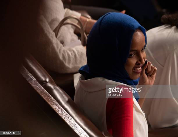 Rep Ilhan Omar attends US President Donald Trump's second State of the Union address to a joint session of Congress at the US Capitol in Washington...