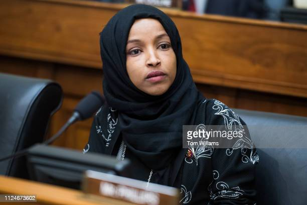Rep Ilhan Omar DMinn attends a House Foreign Affairs Committee hearing in Rayburn Building titled Venezuela at a Crossroads on Wednesday February 13...